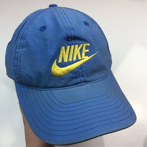 Blue and yellow vintage Nike hat. One size adjustable cap. - Depop c942b3b011a