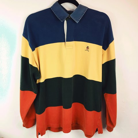 44cbd0a23 @vintageousrags. 2 years ago. Middlesbrough, United Kingdom. Vintage Tommy  Hilfiger crest logo 90s ruby style striped polo shirt. Men's size M ...