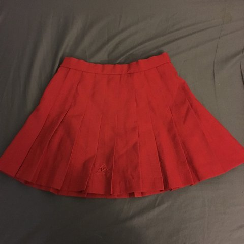 29419dcba177 Vintage red le coq sportif pleated tennis skirt. Really good - Depop