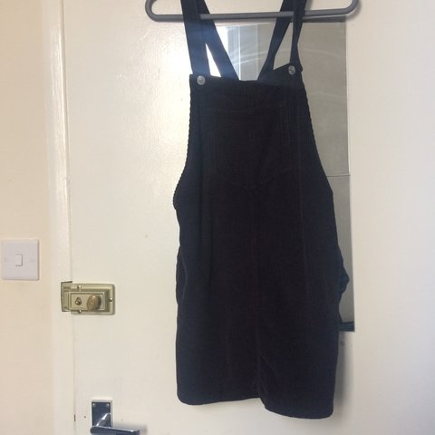 6174cb7d457 Topshop petite black corduroy pinafore dress size uk 8    - Depop