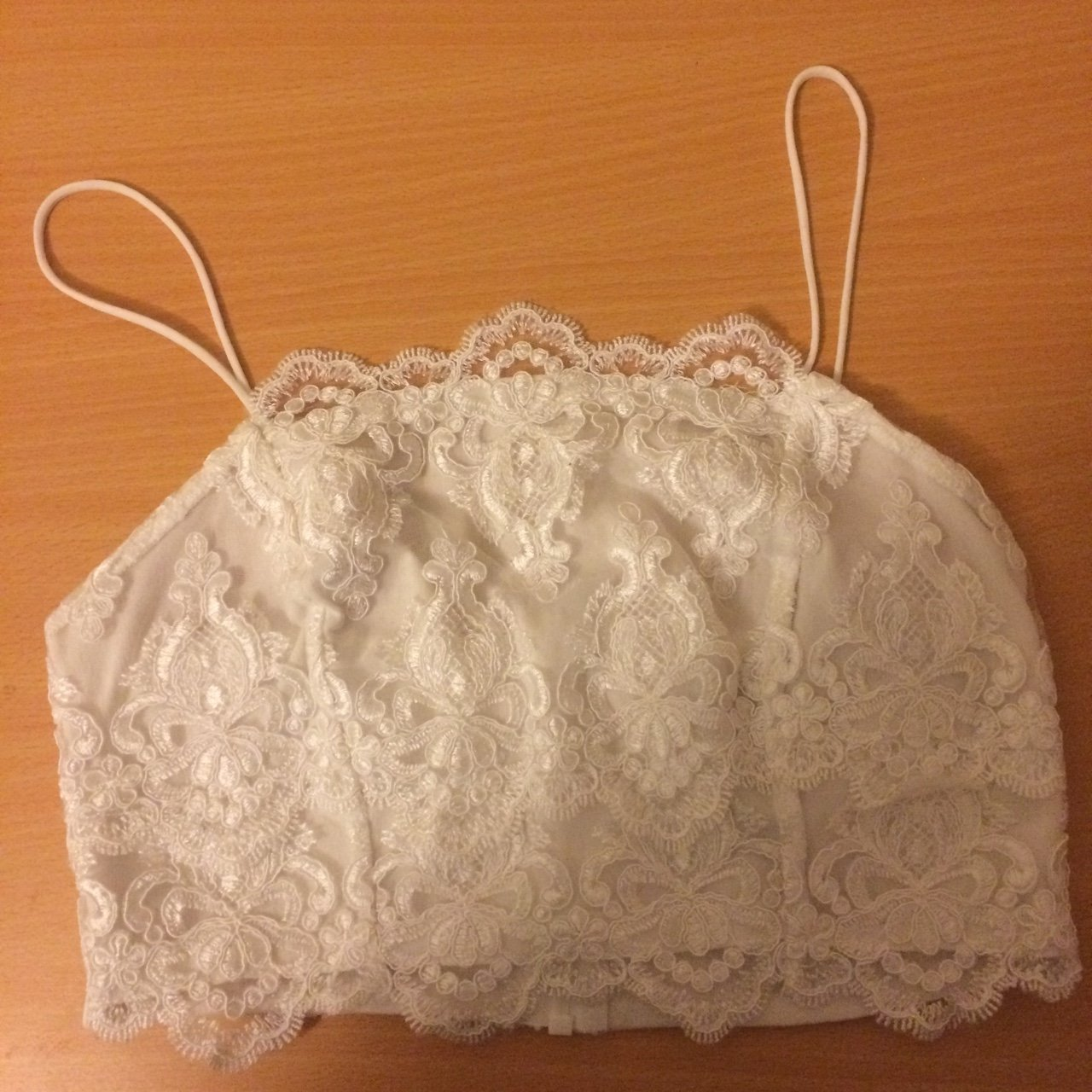 24437348ae7d93 Topshop white embroidered bralet crop top. UK women s size - Depop