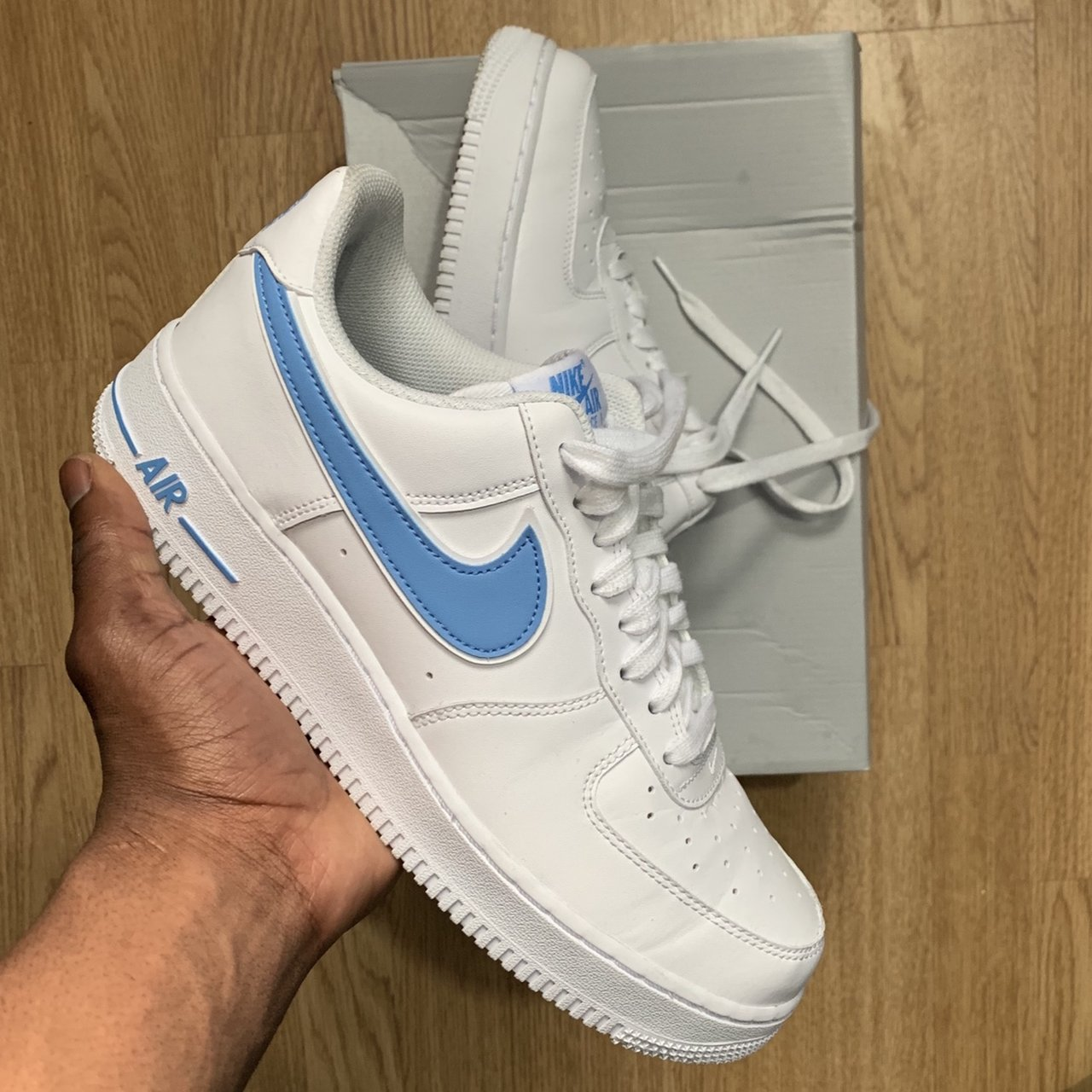 White with baby blue tick Air Force 1