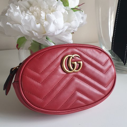 90f94109e38e Gucci Marmont Belt Pack bag in red, from Luisaviaroma in as - Depop