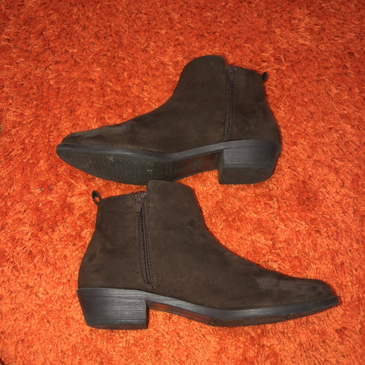 67766c02097 Faux Suede Brown Booties. From Forever 21. Size- 8. Have a - Depop