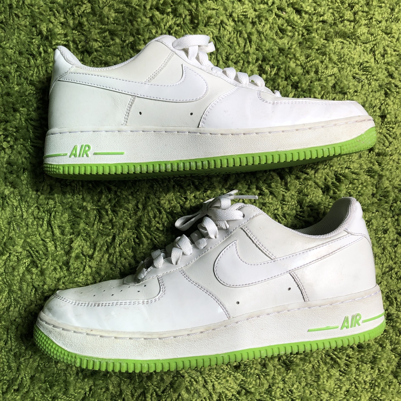 white and lime green air force ones
