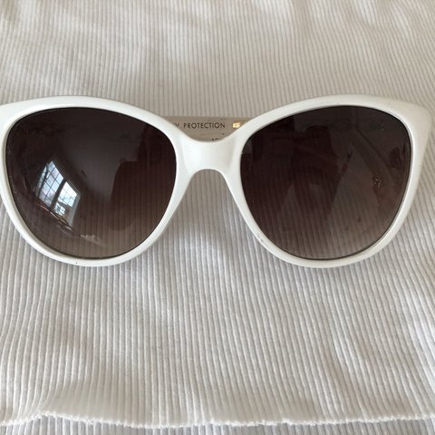 e03f4f23e6c White sunglasses with gold on the frames too  ) I think they - Depop