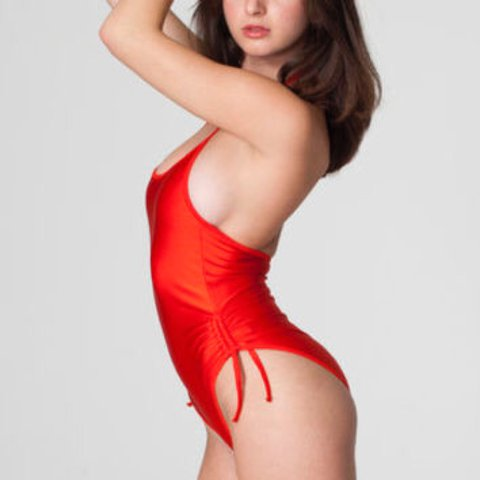 7322d5572abe3 @porkieasy. last year. Gainesville, United States. American Apparel classic  girl nylon tricot tie halter ruched sides one piece ...