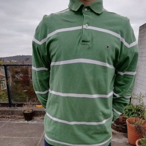2460c8099 90s Tommy Hilfiger Polo Large Mens striped. Green and white. - Depop