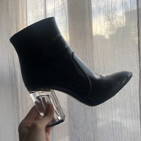 3eb7d86252f Patent Black Ankle Boots with Lucite Heel