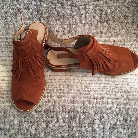 12cef1ad9e3b Topshop tan sandals with fringe size 5 wore once. £15 P P - Depop