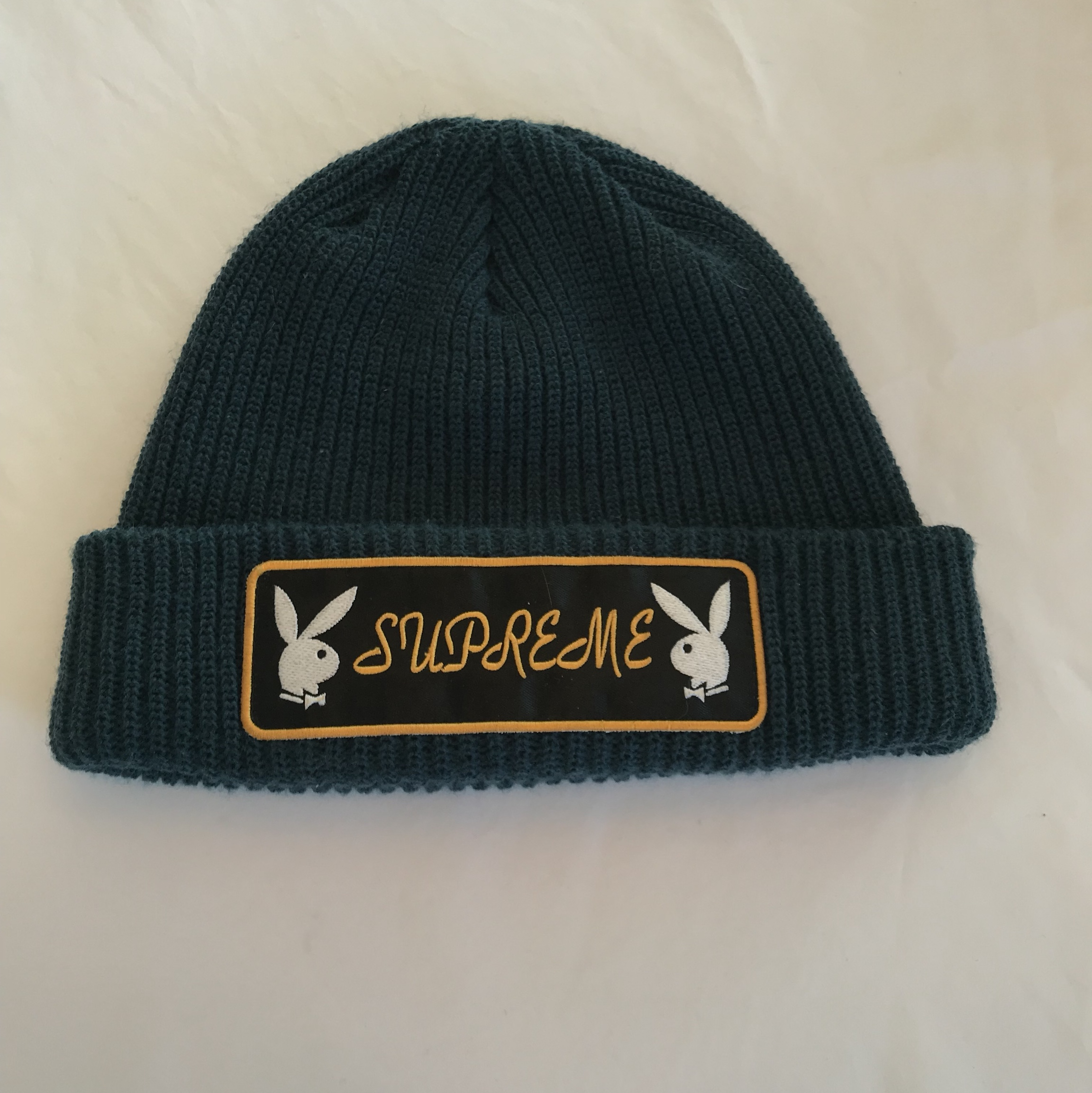 2d250f5942ce7 Supreme Playboy Beanie in Blue. 10 10 Condition  supreme - Depop