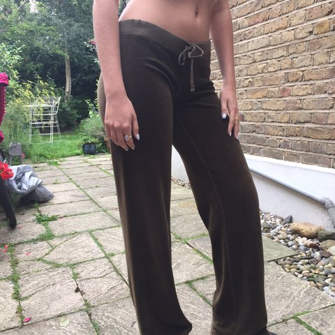 58b147607280 Juicy couture tracksuit bottoms- velour. Khaki  brown will - Depop