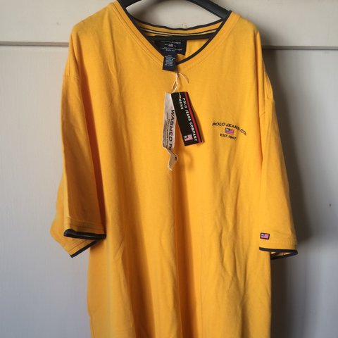 f3a8213829cd8 Super cool vintage polo jeans co. t-shirt. The yellow on is - Depop