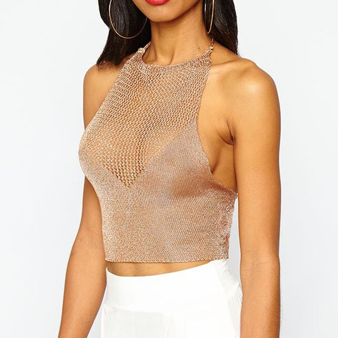 62d9cfa9dc Gorgeous gold mesh halter neck crop top Selling as never get - Depop