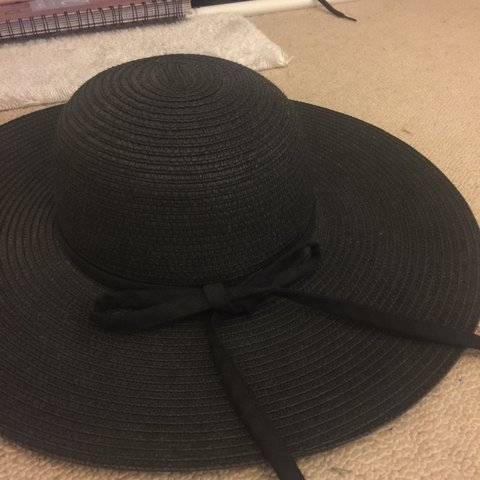 bf6ccc77a47cf9 Brandy Melville black straw bow tied floppy sun hat brought - Depop