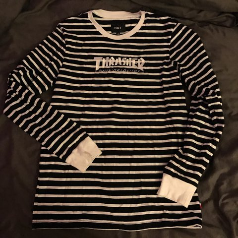 c239329d8 @commedesjulie. 2 years ago. Garland, United States. HUFXTHRASHER striped  long sleeve black/white.