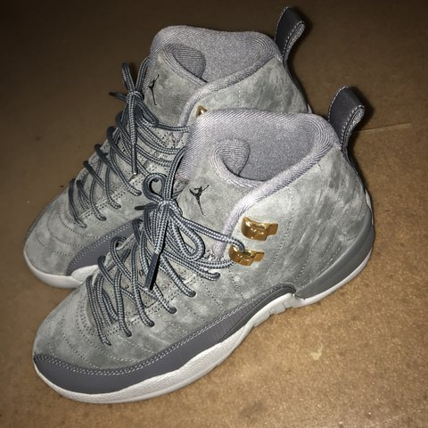 bdd00e87c9cbe Air Jordan 12 wolf grey suede. Brand new never worn.... - Depop