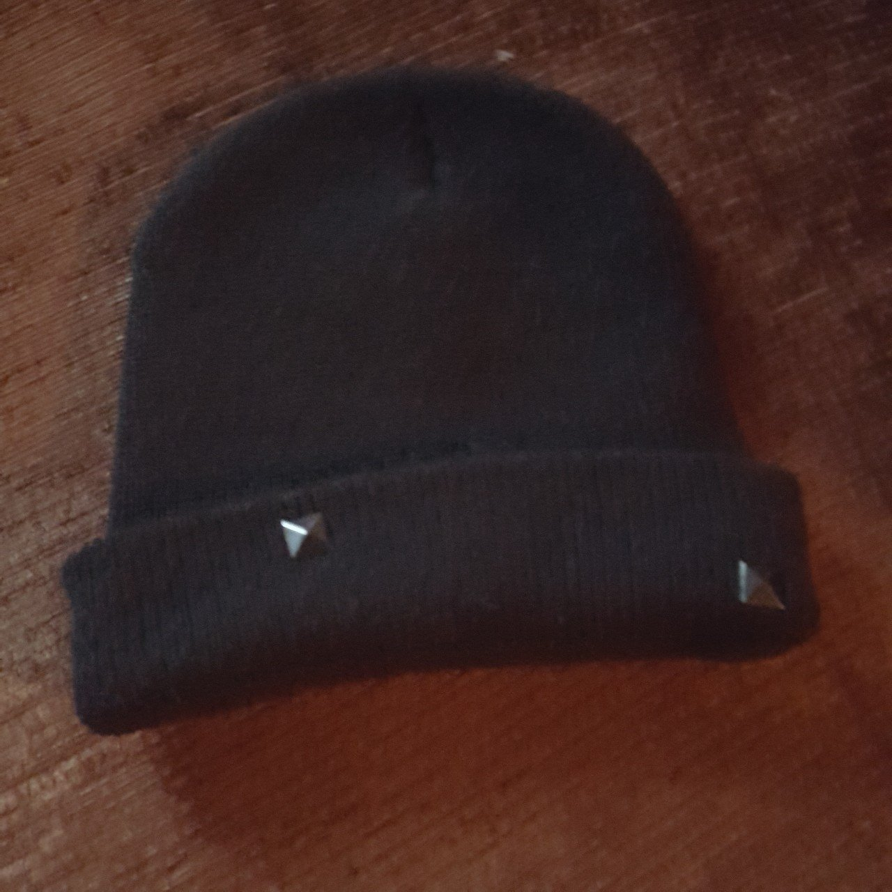 Black beanie with pyramid buttons. Have worn a few times is - Depop 0433375c4c1