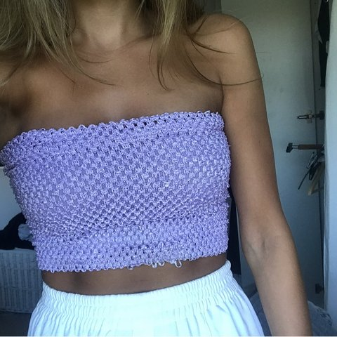 4d9d6b99327 Lilac boob tube   bandeau   pulled on a few bits but could   - Depop