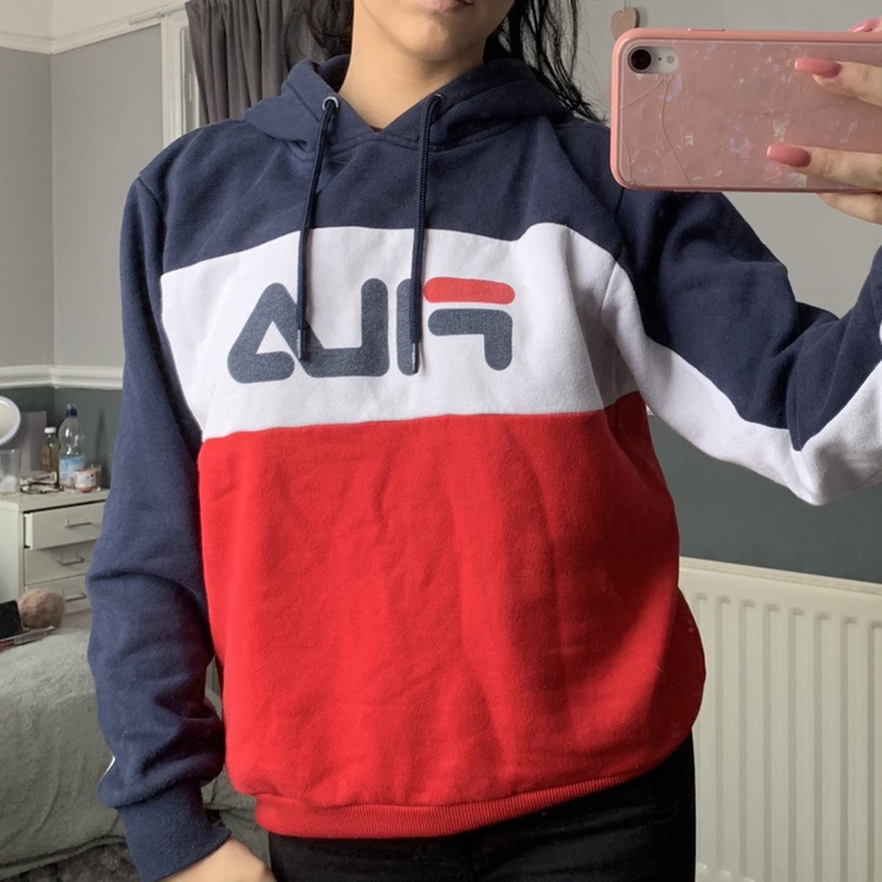 Red white and blue Fila hoodie jumper