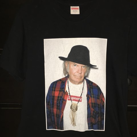 2798aaa8034f Supreme Neil young box logo used cracking in logo black size - Depop