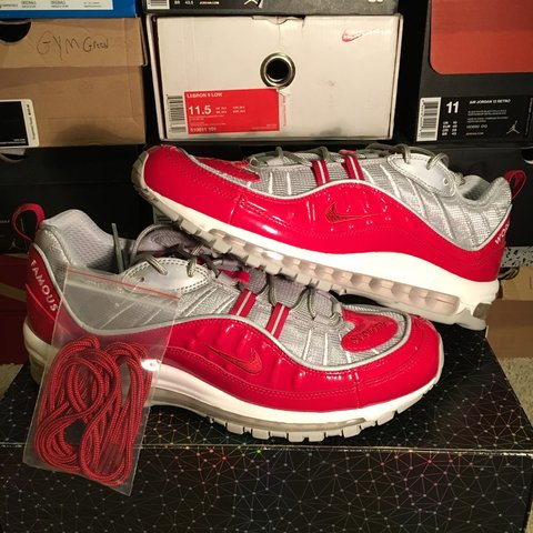 4a9b97a82c9e DS Supreme air max 98 size 11 red never been worn Purchased - Depop
