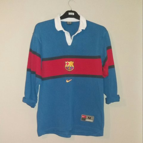 4ea28754a RARE Fc barcelona rugby shirt   good for oversized shirt for - Depop