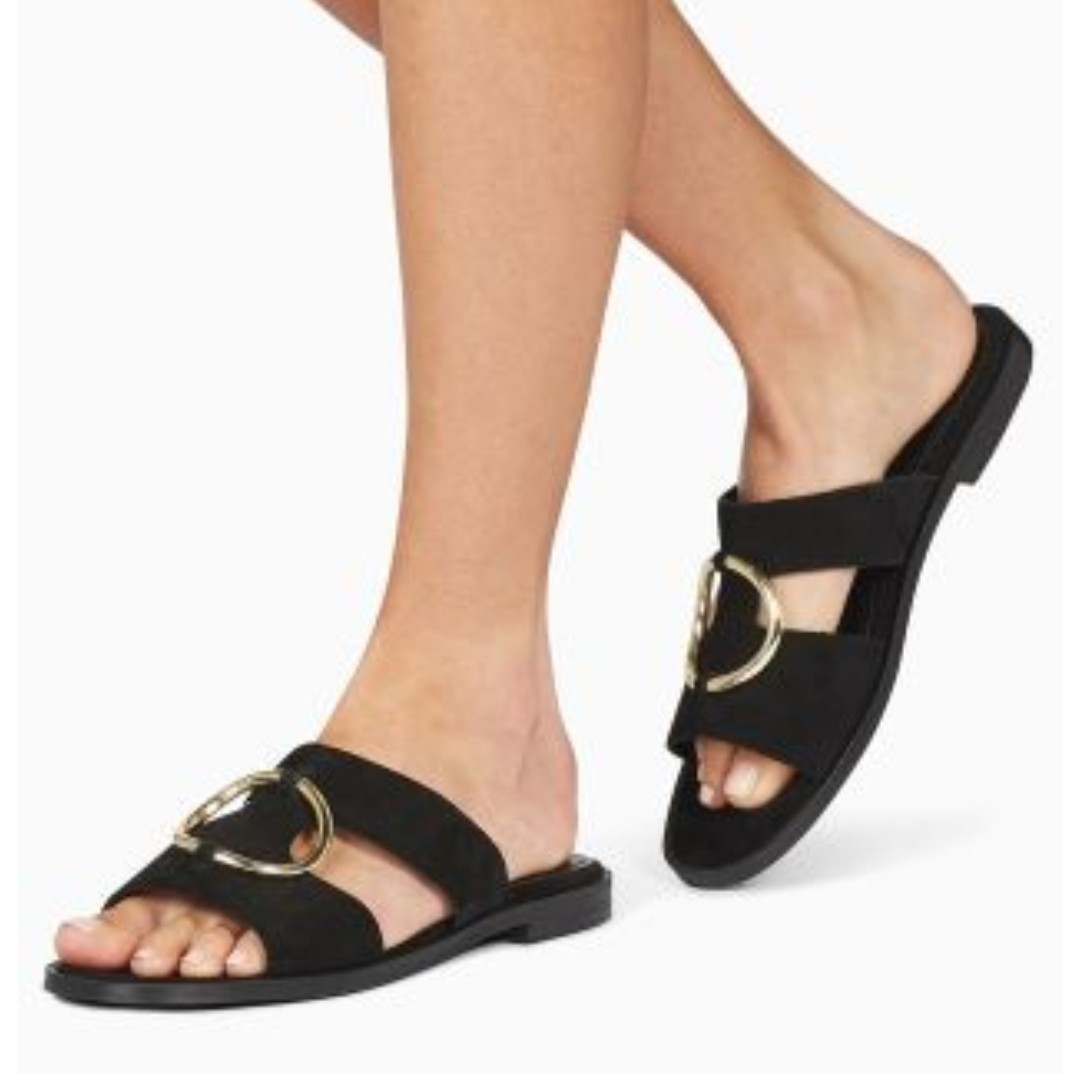NEXT black suede sandals with large