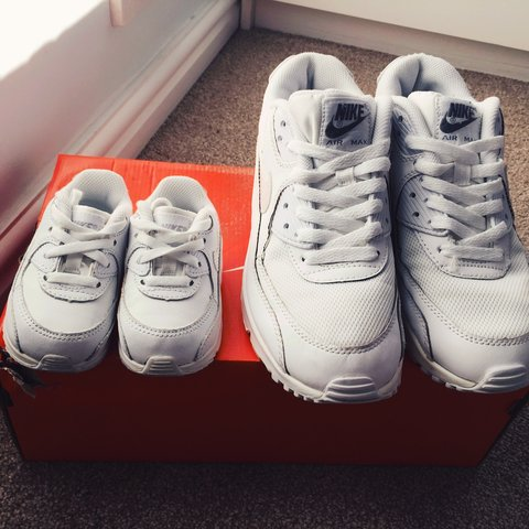 8fc5f56e55fe Mother and baby matching white nike air max trainers. Adult - Depop
