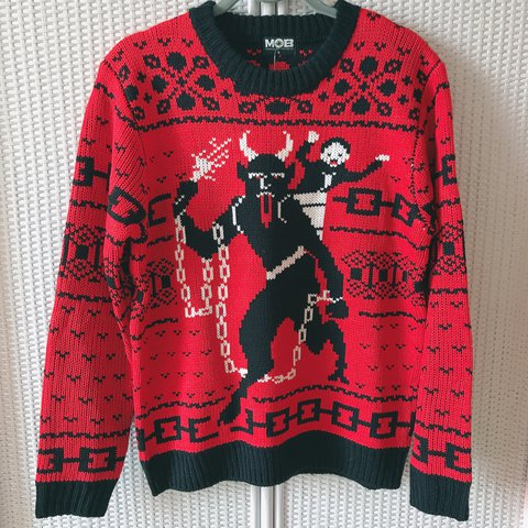 69b68c9d76 Maglione ugly Chistmas sweater con Krampus di Middle Of S is - Depop