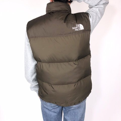 55b796f0ea The North Face Puffer gilet - Brown with white embroidered - Depop