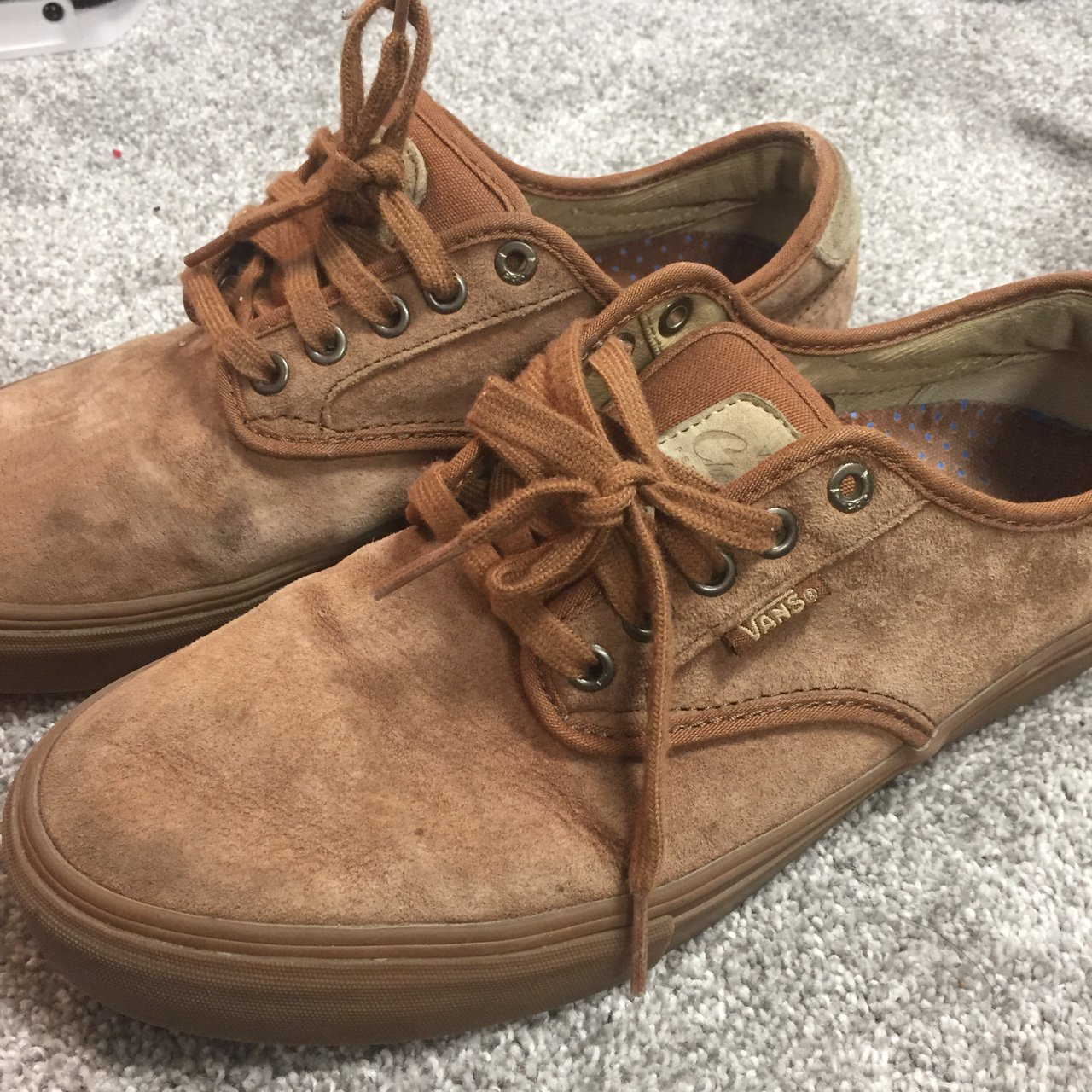 5e5fd5ef8107 Brown suede Vans in good condition. Size 8 UK - Depop