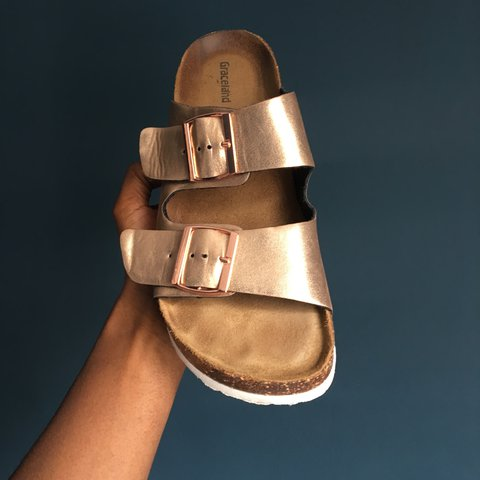7a60b64c94e2 Genuine leather bronze rose gold slip on sandals Size 6 UK a - Depop