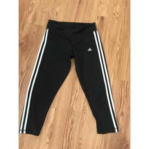 70a046fa06200 Adidas black 3/4 gym leggings. These are SO comfy. Uk uk | | - Depop