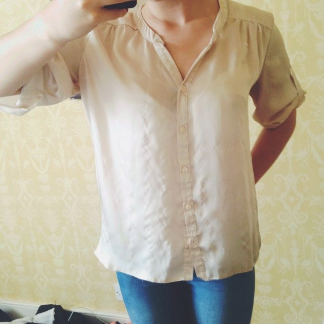 d547745736f46 Nude silk blouse. Been offered £12 for it on ebay so looking - Depop