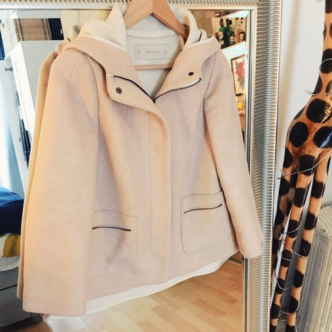 5c5d24311 Pale pink Zara a-line wool coat. In good condition. Size S - Depop
