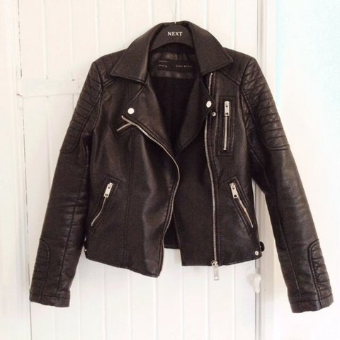 f385077e Black faux leather jacket with silver hardware from Zara in - Depop