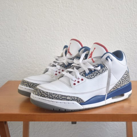 53d435c2f6a @thriftedresearchgroup. last year. Long Beach, United States. Jordan True  Blue 3s. Shoes are in good ...