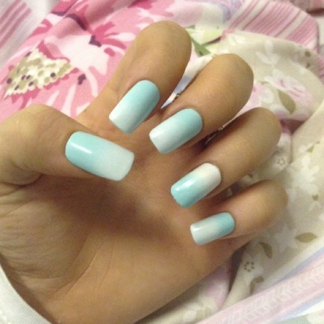 Still Have These Ice Bluewhite Ombré Nails And Red Tartan Depop