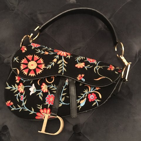62b2fe73a4 vintage dior saddle bag gold hardware floral embroidered a - Depop