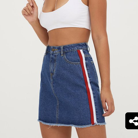 5174f2117c4 denim skirt with a red stripe from pretty little... - Depop