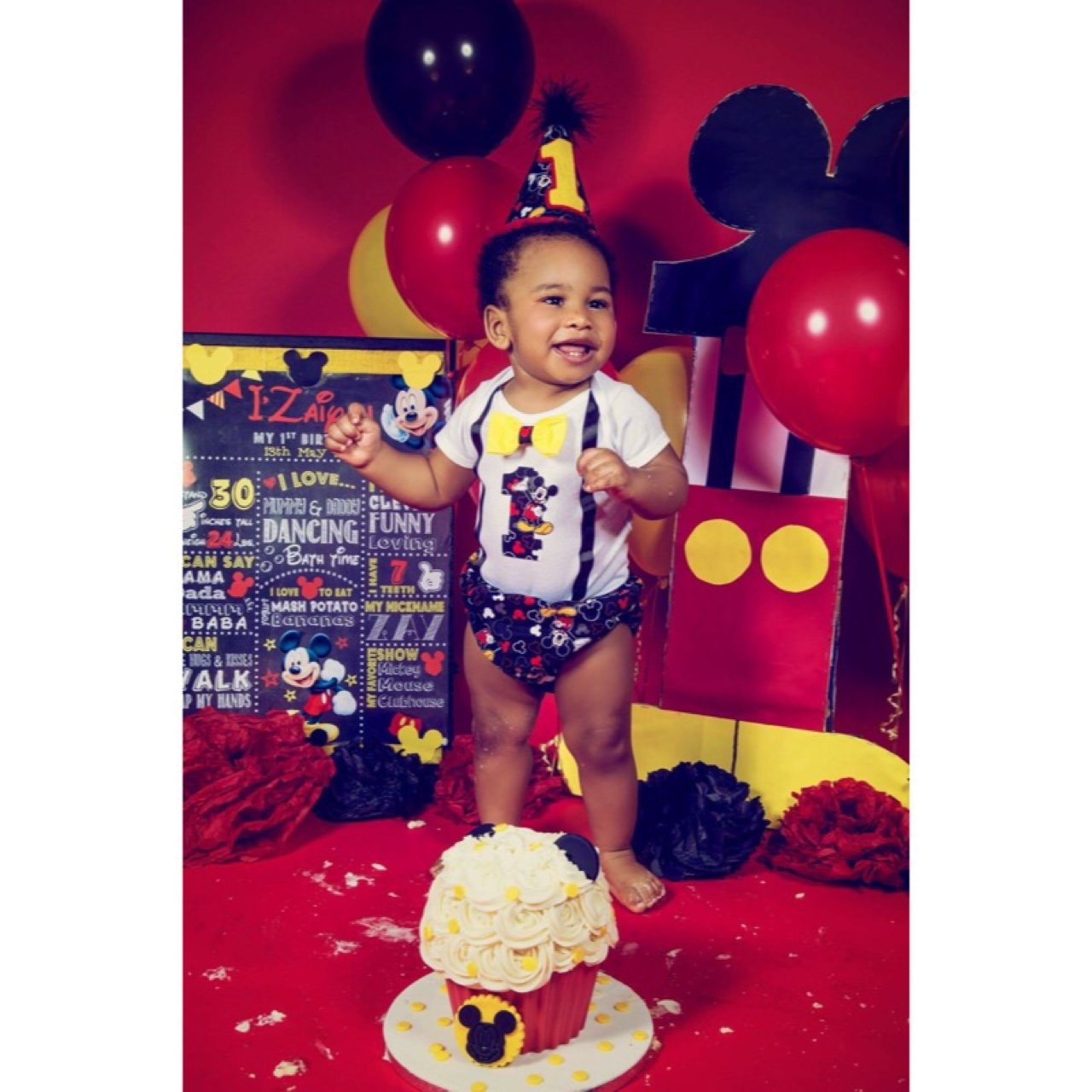 1st Birthday Cake Smash Mickey Mouse Outfit Age 12months