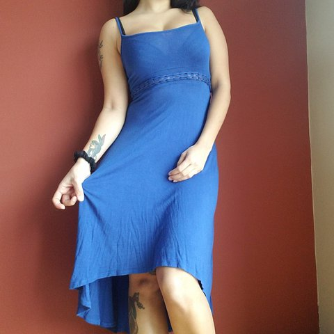 75e44d2c84a Blue summer high low dress short in front longer in back... - Depop