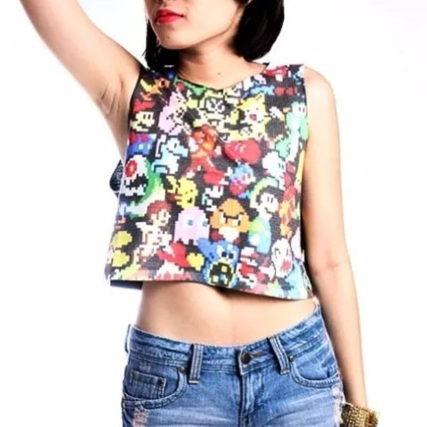 c4f8cc2c9a1037 8 Bit Nintendo crop top size small worn once or twice so in - Depop