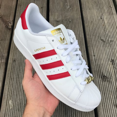 Adidas superstar red and white. Size