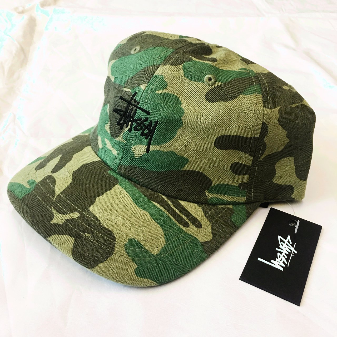 Stussy Strap Back Curbed Peak Camo Hat Brand New With Tags - Depop 2d09c91370a