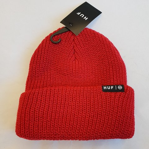 44883076b27 HUF Usual Beanie Brand New in Red  beanie  headwear  hat - Depop