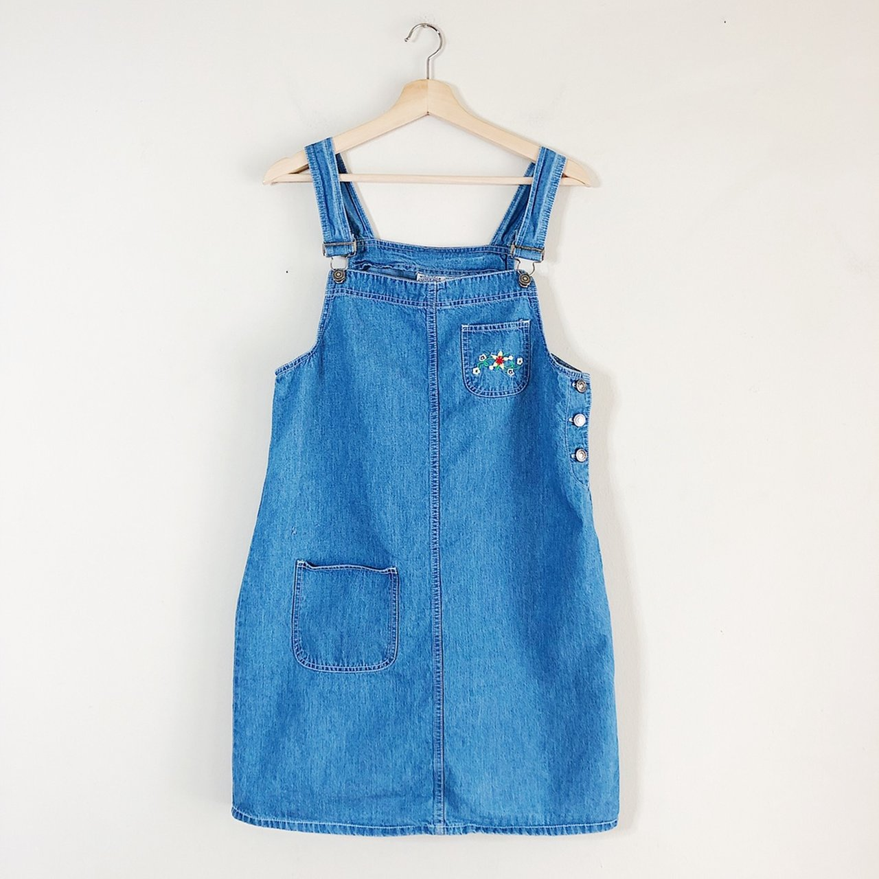 cf67b8184fb93 💐 Vintage 90s denim overall dress with floral embroidered M - Depop