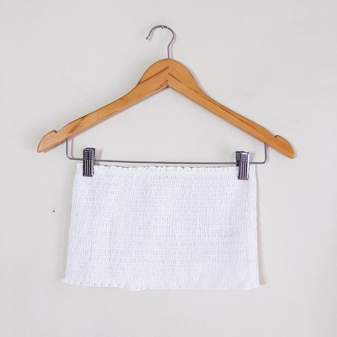"1babb5e7fe5 🕊 Brandy Melville smocked white cotton   linen tube top. 8"" - Depop"