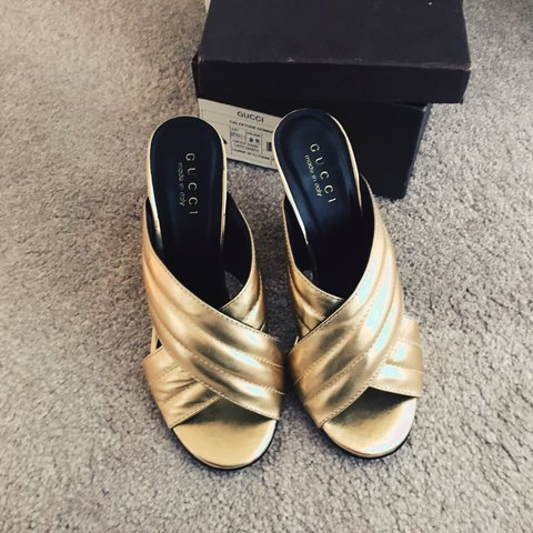 6313975d3 Gucci gold cross over sandal. Size 37. Worn once